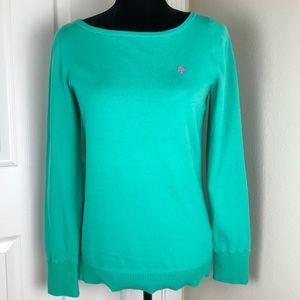 Lilly Pulitzer boatneck aqua sweater